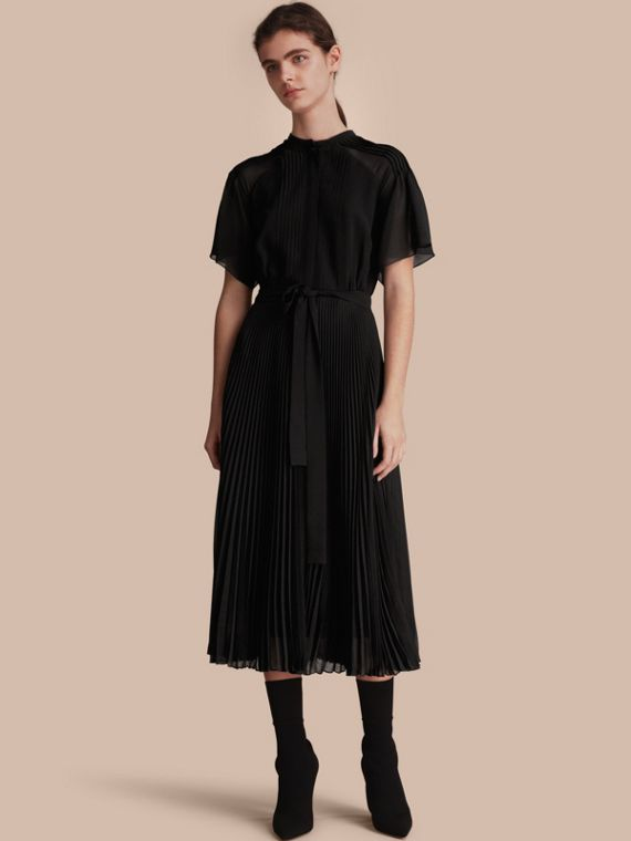 Pleated Silk Dress - Women | Burberry Canada