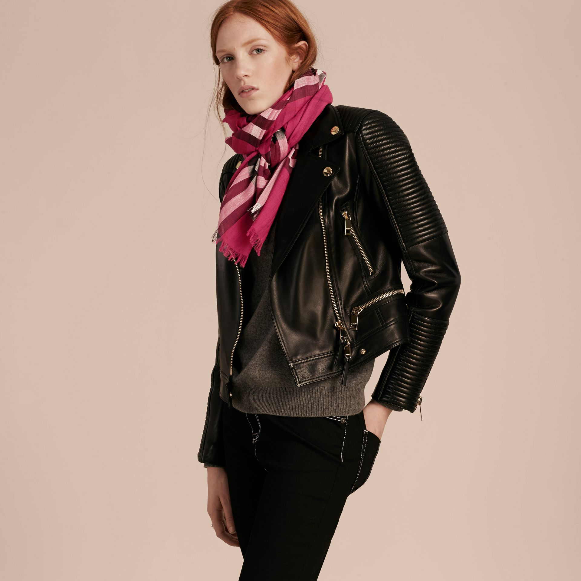 Lightweight Check Wool and Silk Scarf in Fuchsia Pink | Burberry - gallery image 3