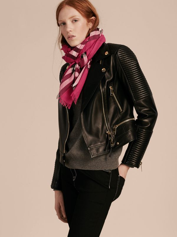 Lightweight Check Wool and Silk Scarf in Fuchsia Pink | Burberry - cell image 2