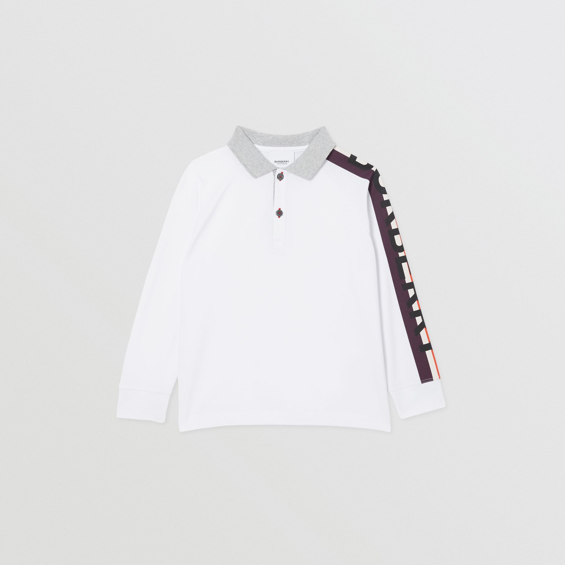 Long-sleeve Logo Print Cotton Polo Shirt in White | Burberry - gallery image 0