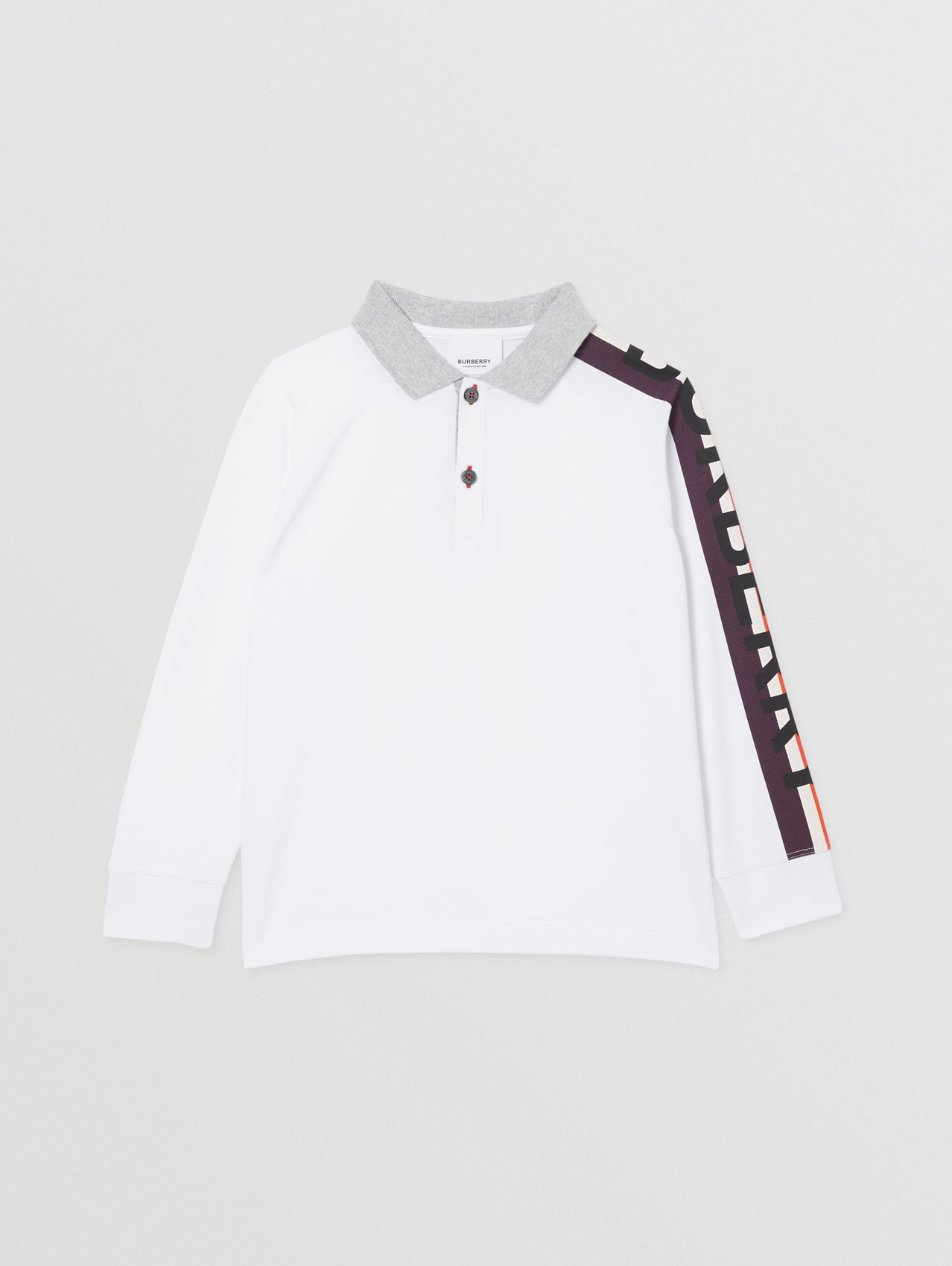 Long-sleeve Logo Print Cotton Polo Shirt in White