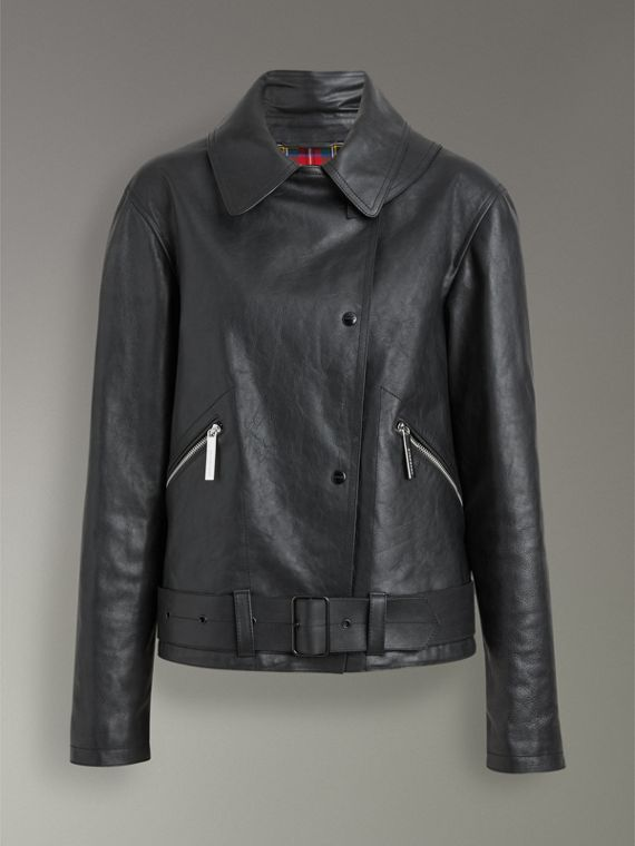 Tartan-lined Leather Biker Jacket in Black - Women | Burberry - cell image 3