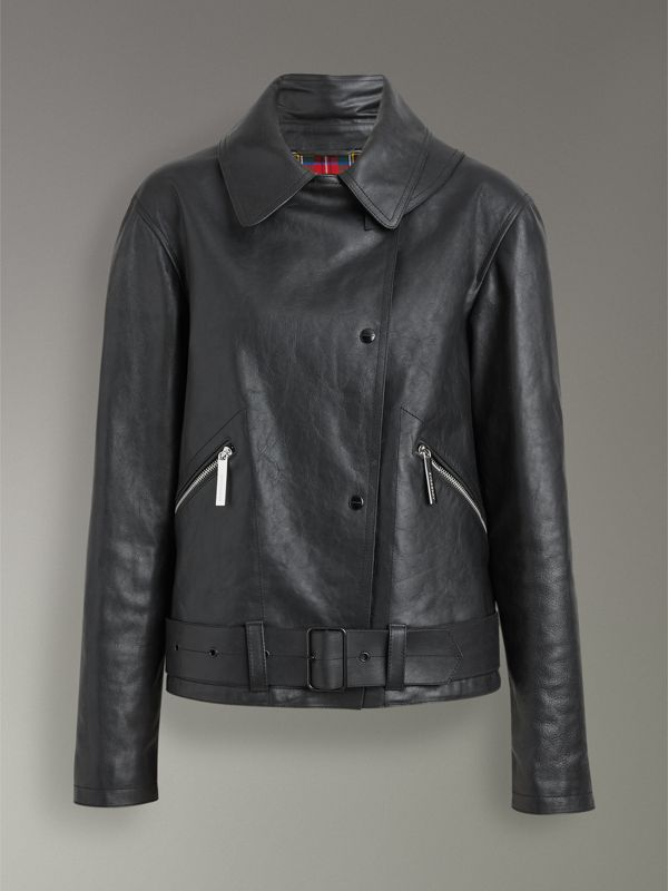Tartan-lined Leather Biker Jacket in Black - Women | Burberry Australia - cell image 3