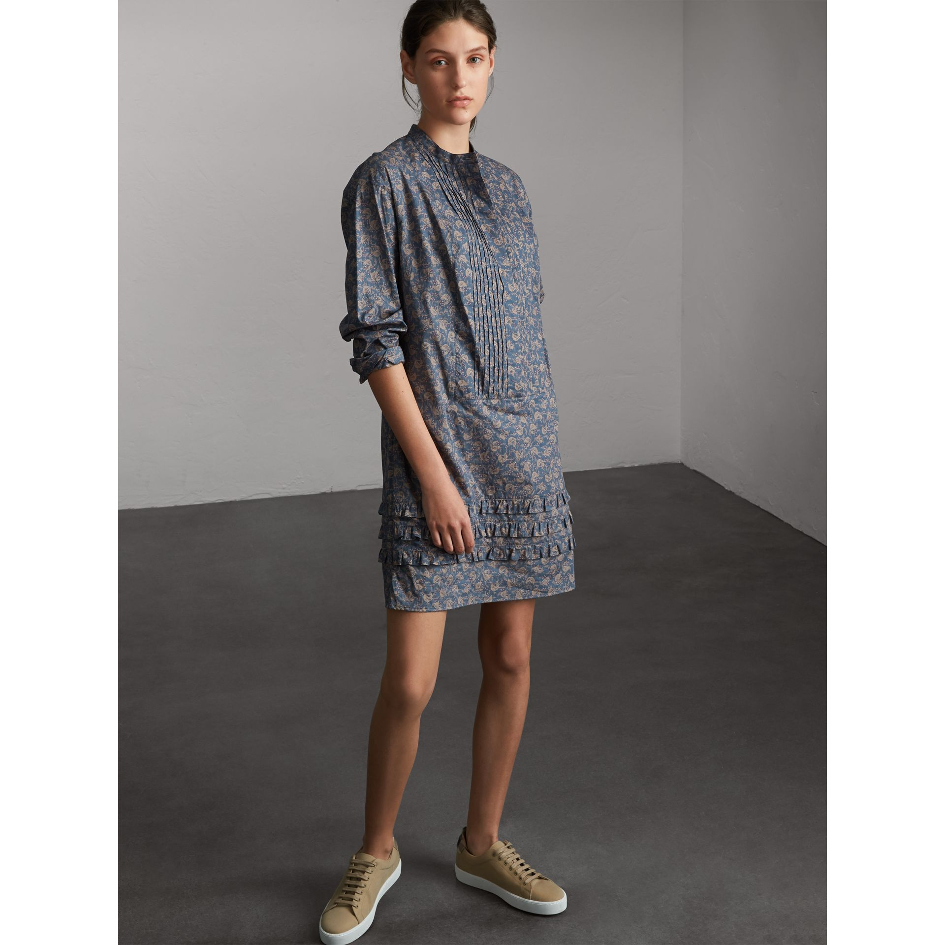 Pintuck Bib Leaf Print Cotton Shirt Dress - Women | Burberry - gallery image 5