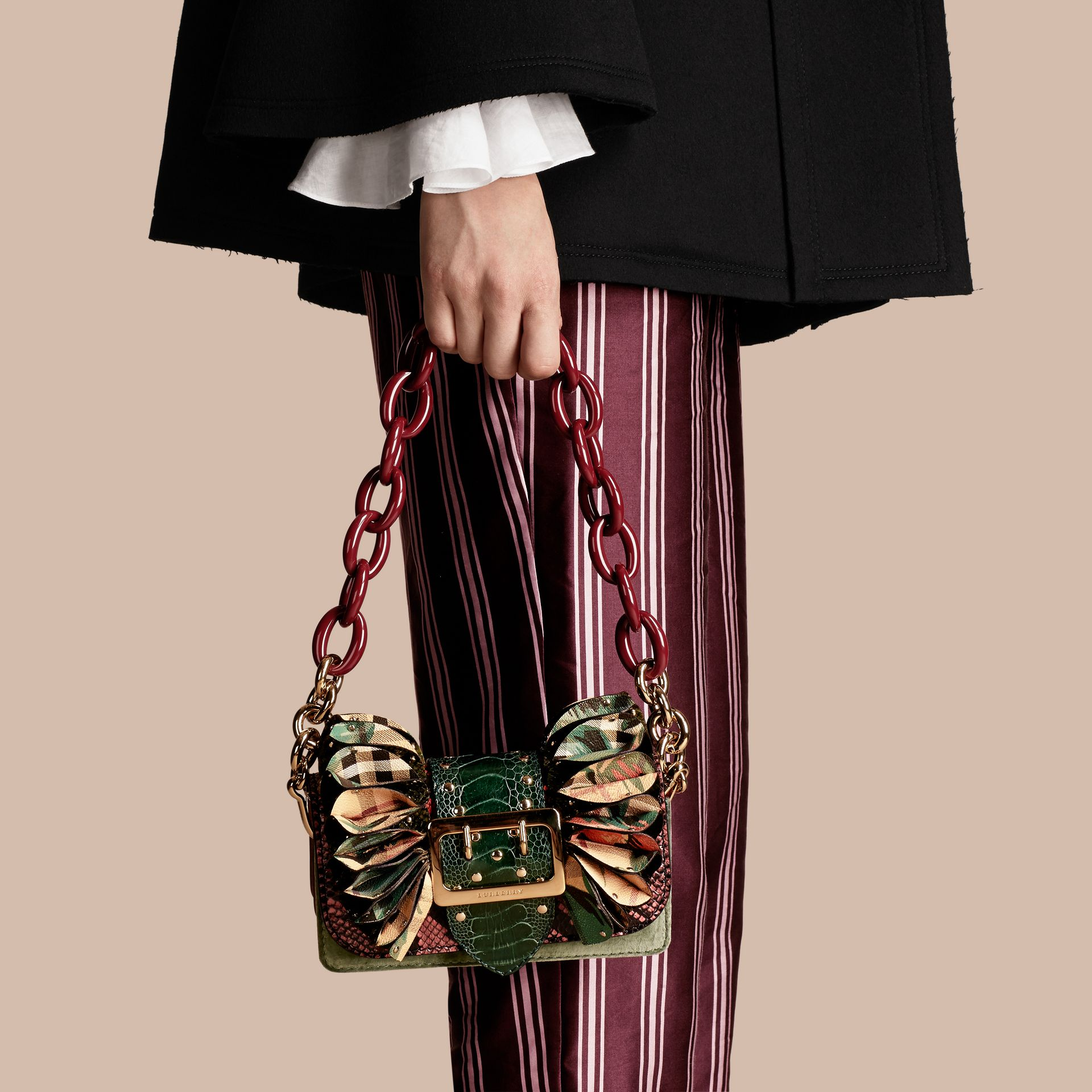 The Ruffle Buckle Bag in Snakeskin, Ostrich and Check in Rose Pink - gallery image 3