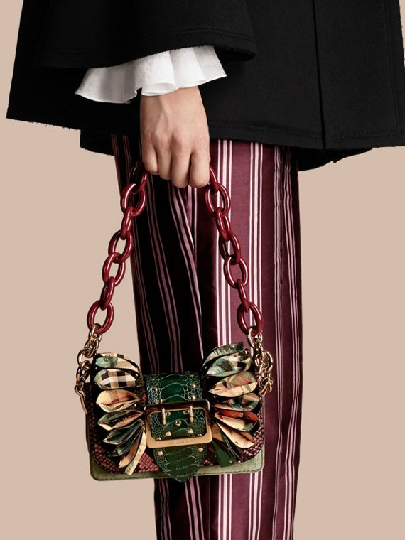 The Ruffle Buckle Bag in Snakeskin, Ostrich and Check in Rose Pink - cell image 2