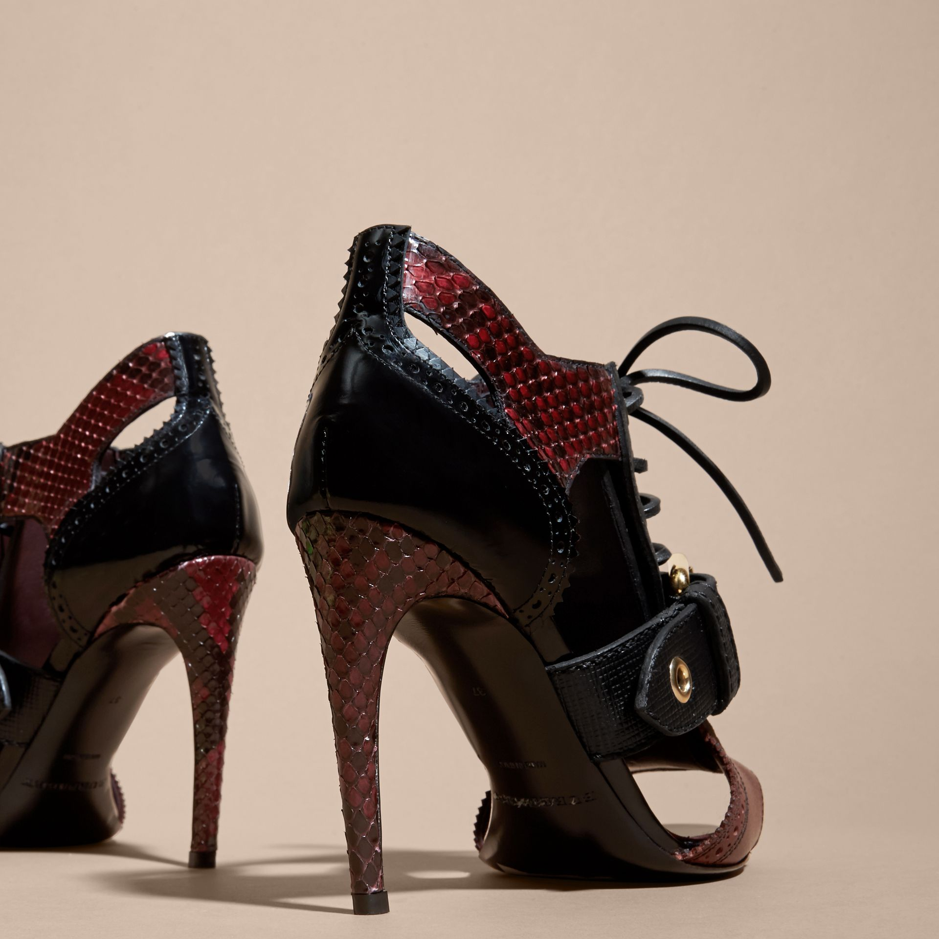 Buckle Detail Leather and Snakeskin Cut-out Ankle Boots in Bordeaux - gallery image 4