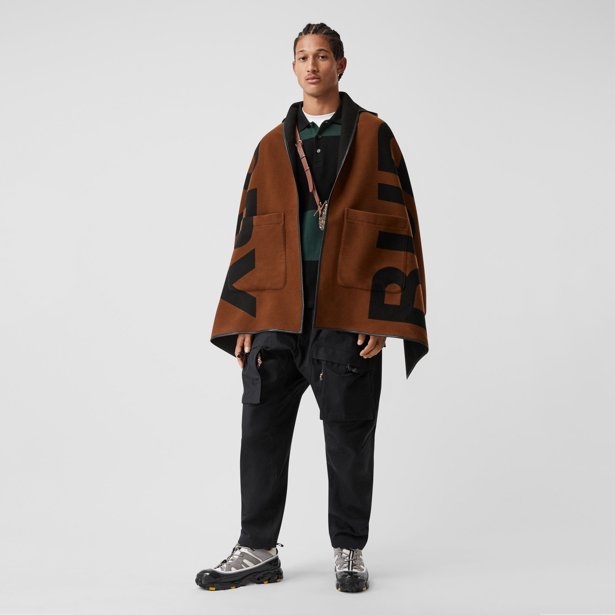 Logo Wool Cotton Jacquard Hooded Cape in Dark Chestnut Brown | Burberry - 1