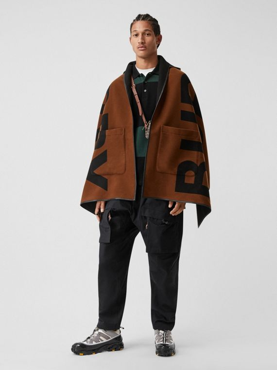 Logo Wool Cotton Jacquard Hooded Cape in Dark Chestnut Brown