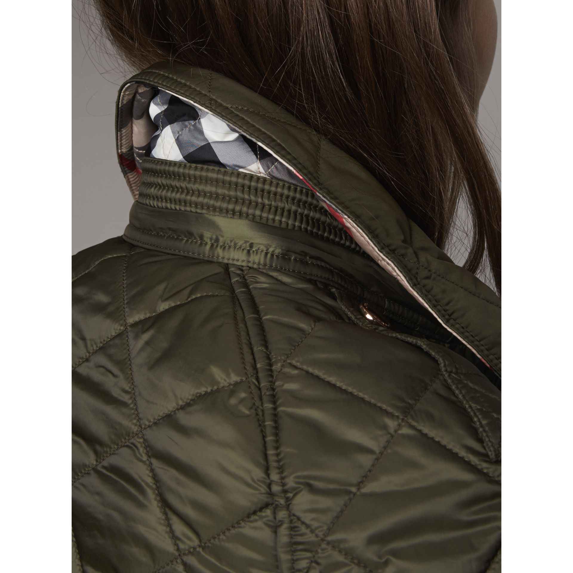 Detachable Hood Quilted Showerproof Parka in Military Khaki - gallery image 6