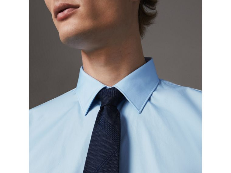 Modern Fit Cotton Poplin Shirt in City Blue - Men | Burberry Hong Kong - cell image 1