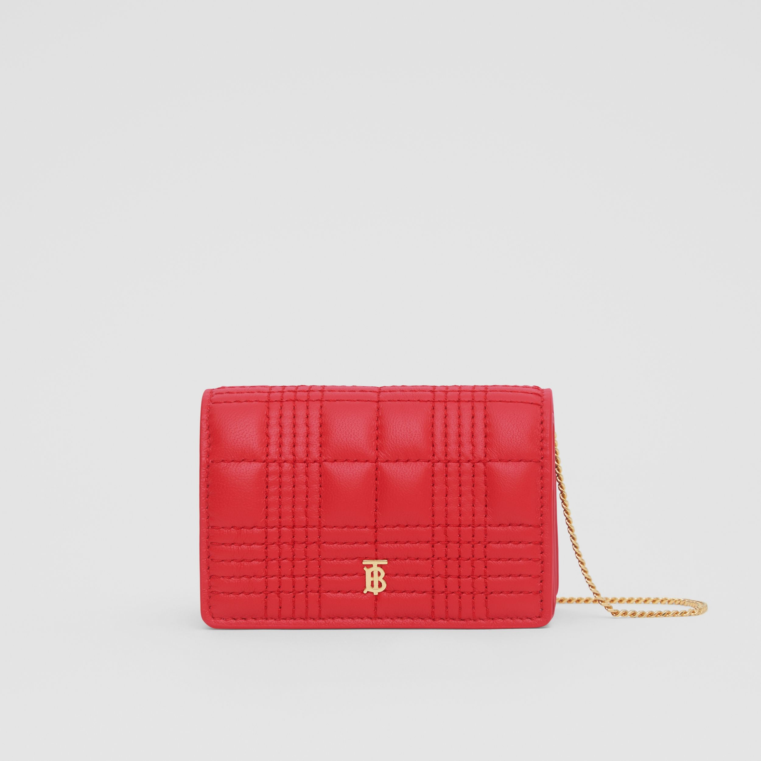 Quilted Lambskin Card Case with Detachable Strap in Bright Red | Burberry - 1
