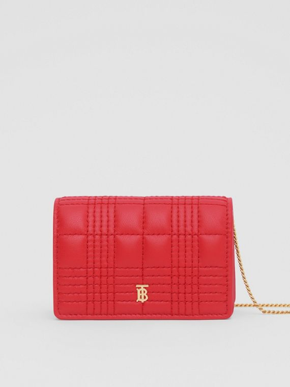 Quilted Lambskin Card Case with Detachable Strap in Bright Red