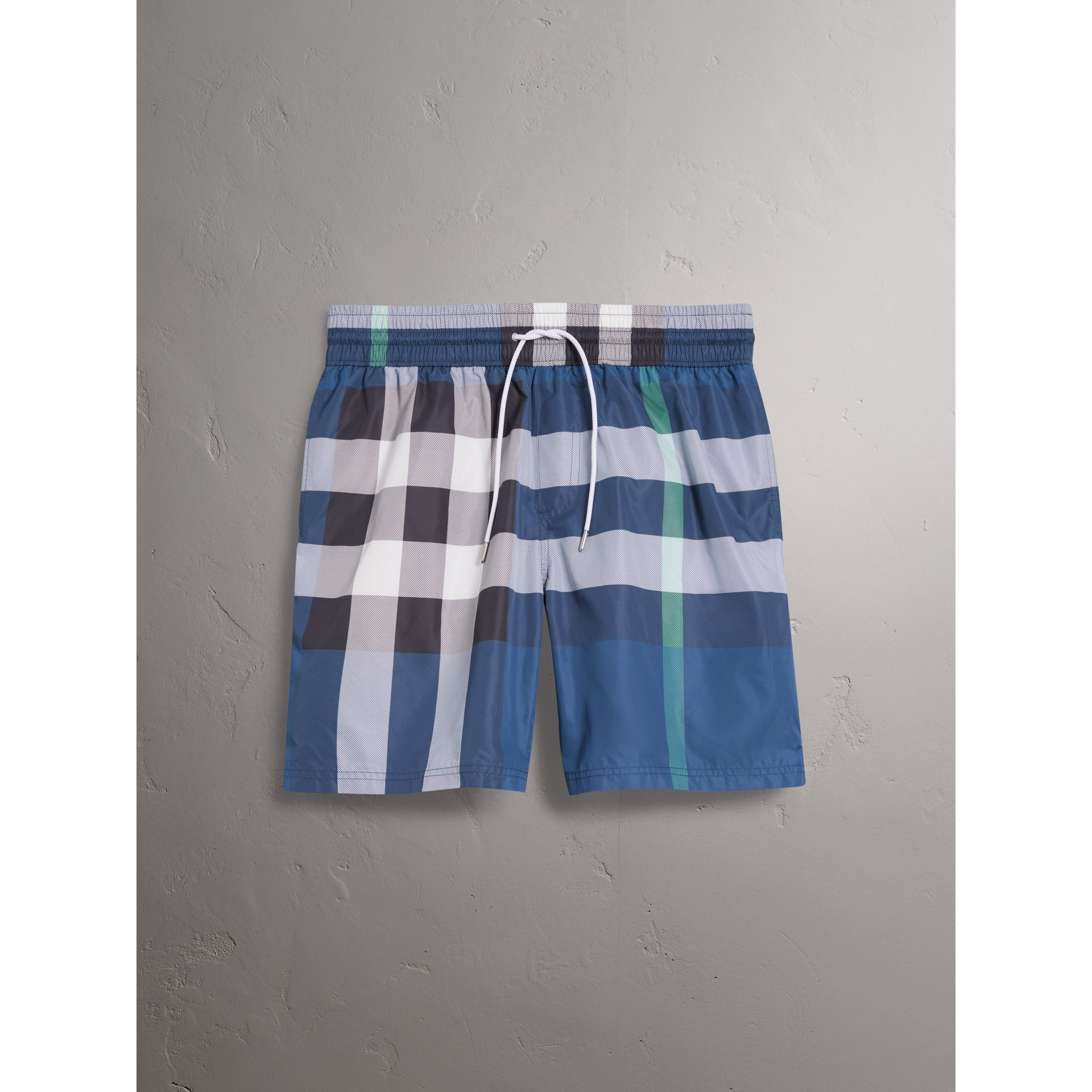 Check Drawcord Swim Shorts in Canvas Blue - Men | Burberry United States - gallery image 3