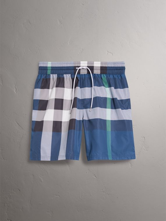 Check Drawcord Swim Shorts in Canvas Blue - Men | Burberry United States - cell image 3