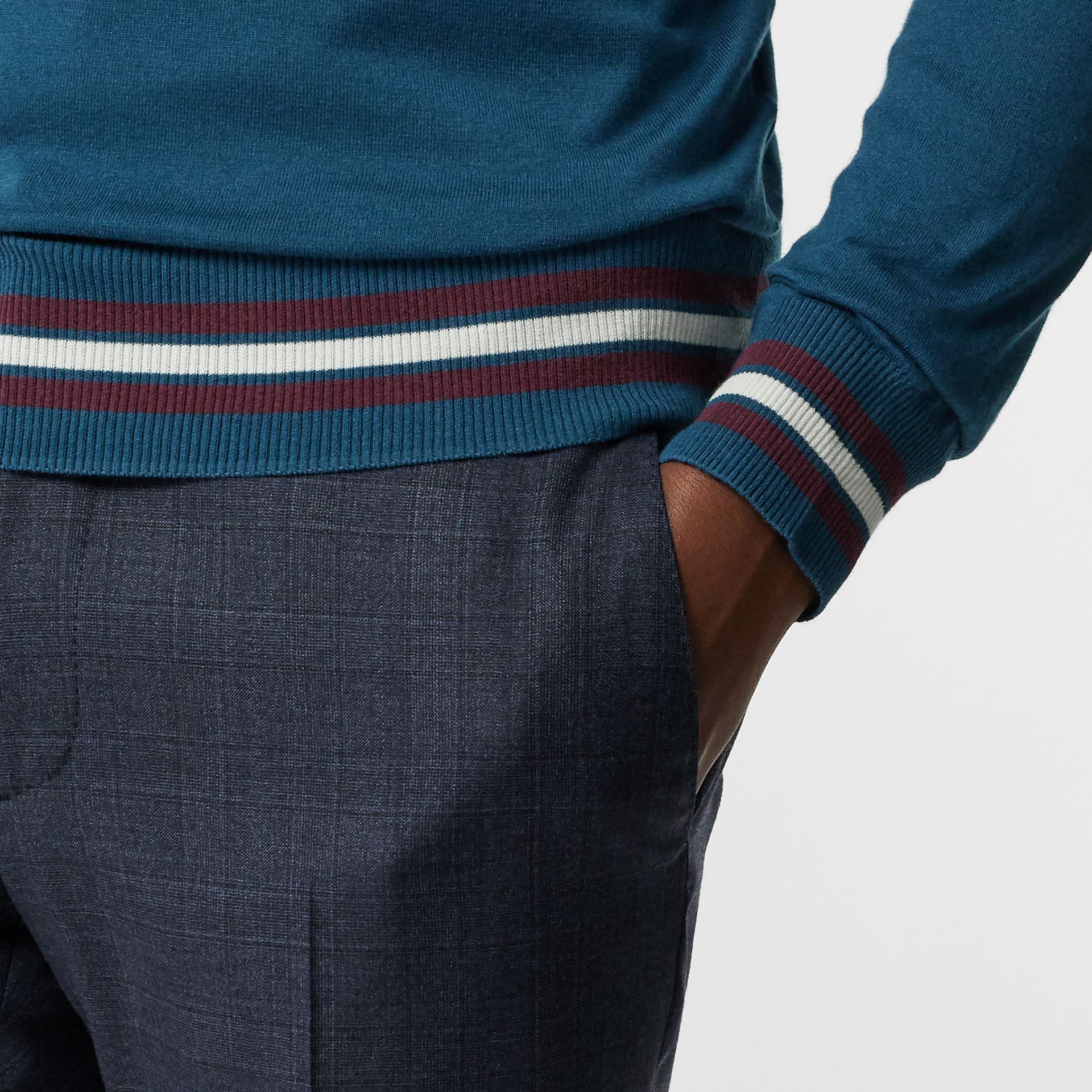 Embroidered Crest Cotton Silk Sweater in Dark Teal Blue - Men | Burberry - gallery image 4