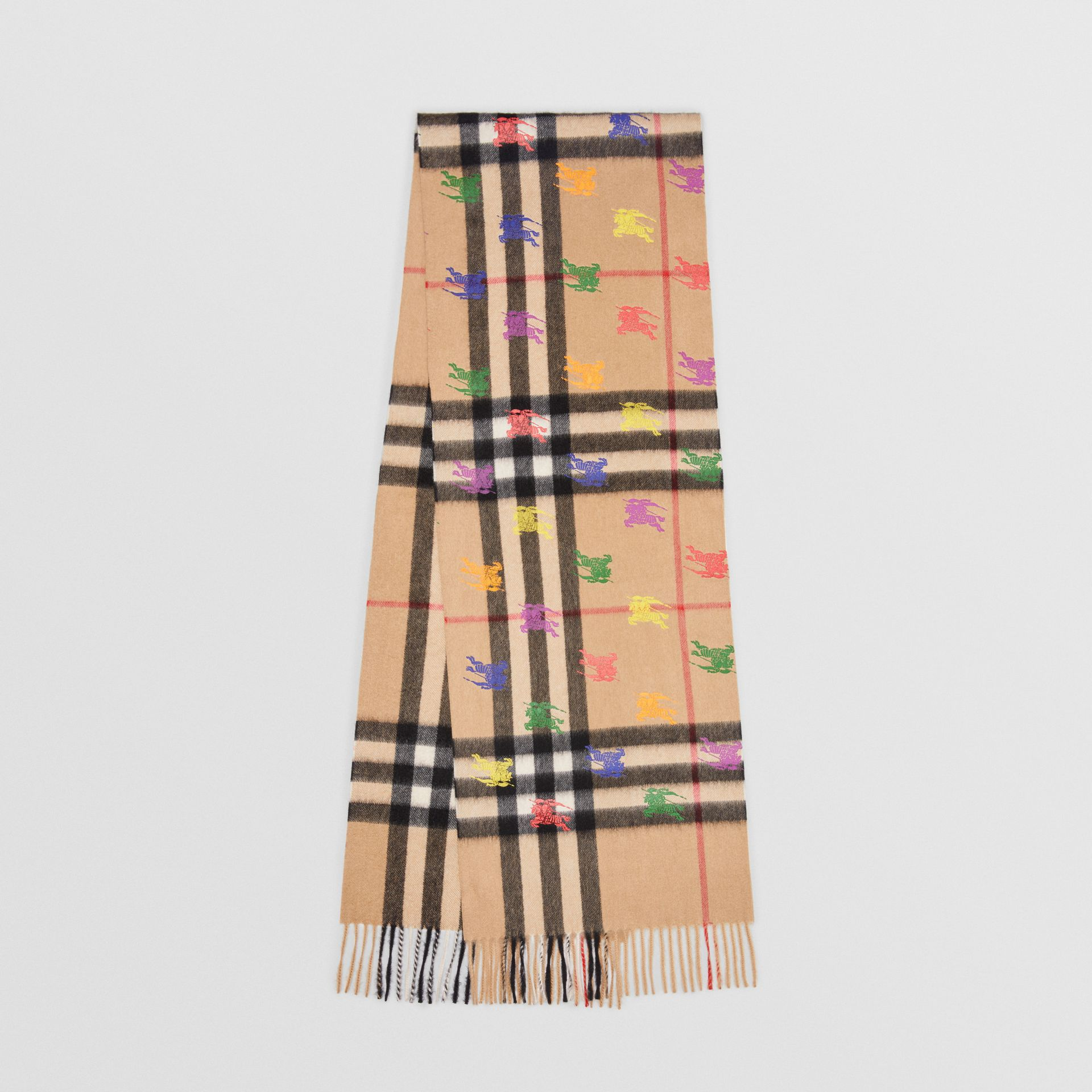 The Classic Check Cashmere Scarf in EKD Print in Camel | Burberry United Kingdom - gallery image 0
