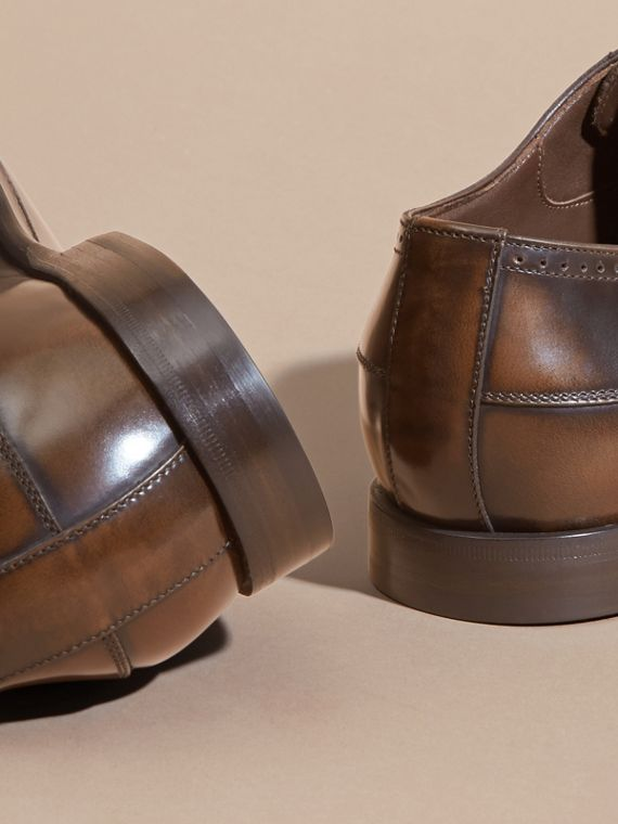 Ombré Perforated Detail Leather Derby Shoes in Chocolate Brown - Men | Burberry - cell image 3