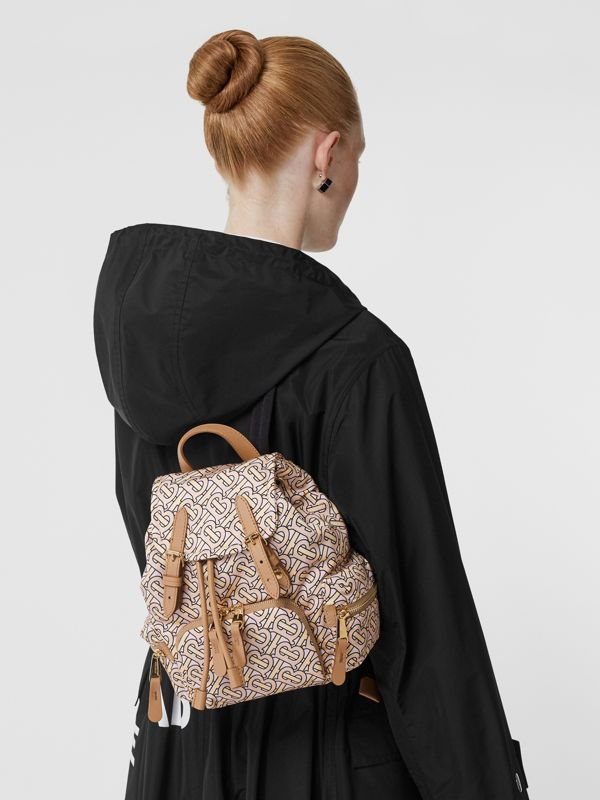 The Small Rucksack in Monogram Print Nylon in Blush - Women | Burberry Australia - cell image 2