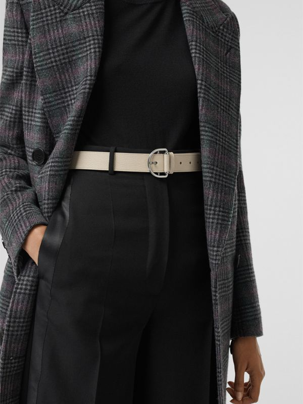 Grainy Leather D-ring Belt in Stone/pewter Blue - Women | Burberry Australia - cell image 2