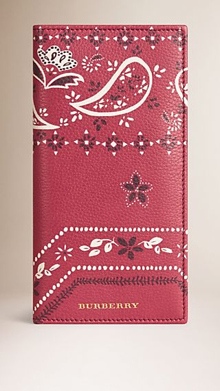 Paisley Floral Print Grainy Leather Card Case