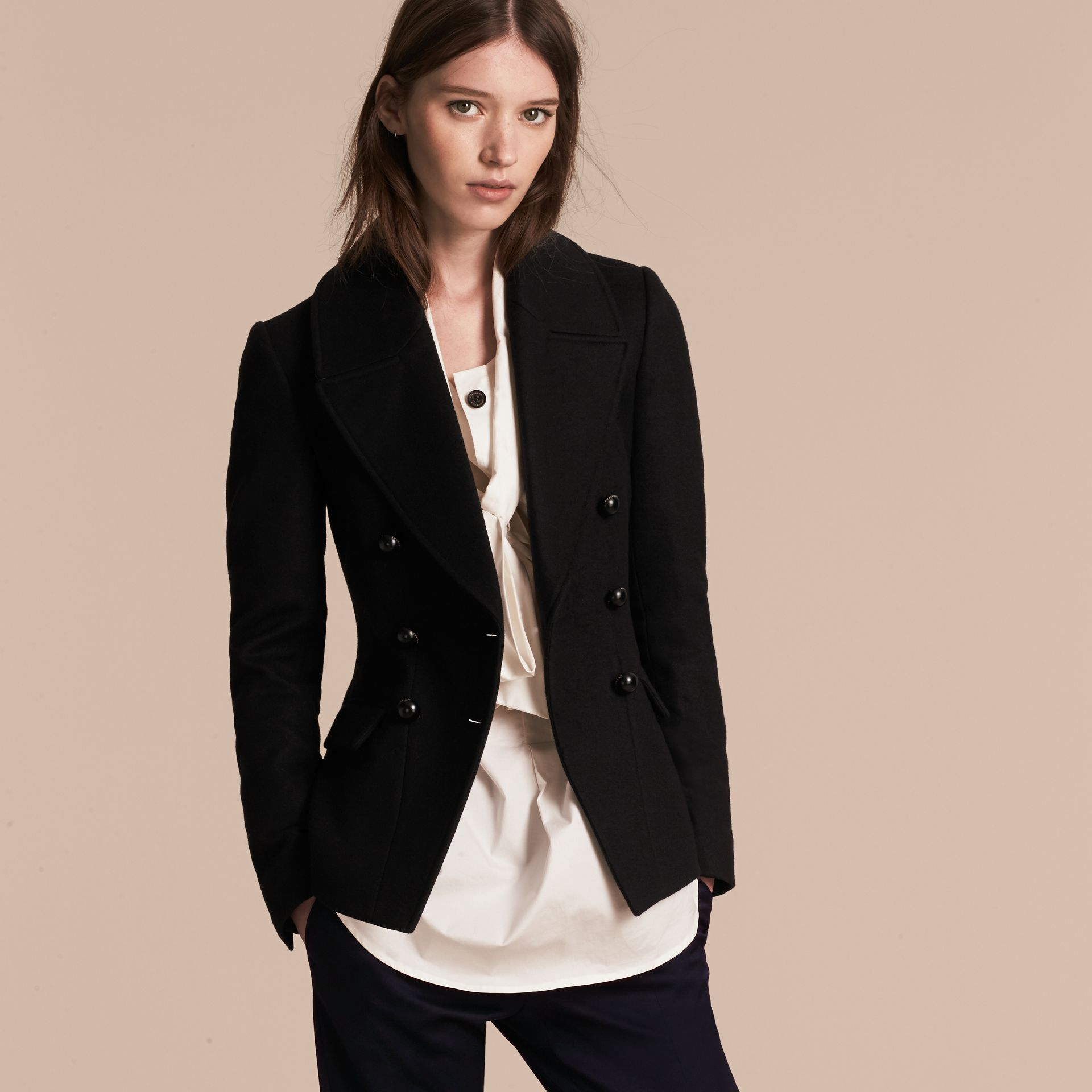 Tailored Wool Blend Jacket in Black - Women | Burberry - gallery image 7