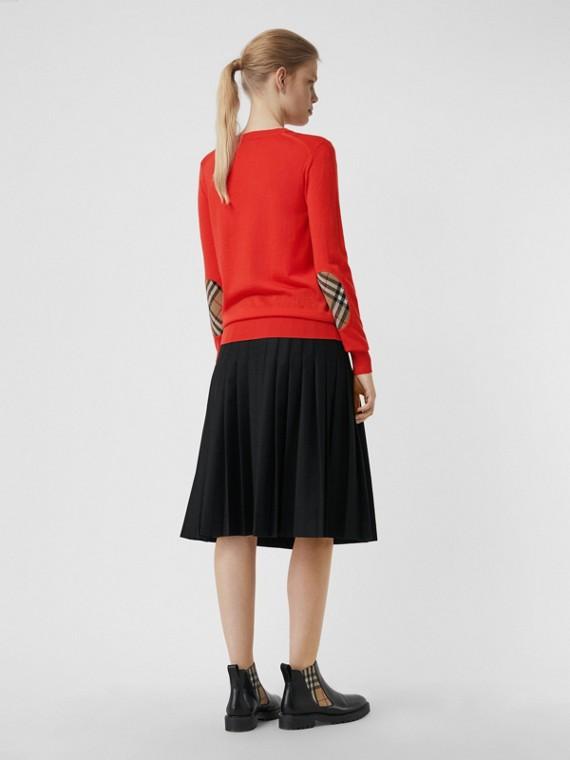 Pullover in lana Merino con dettagli Vintage check (Rosso Arancione)