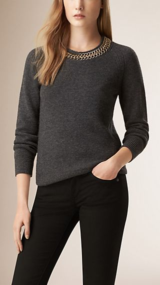 Chain Detail Wool Cashmere Sweater