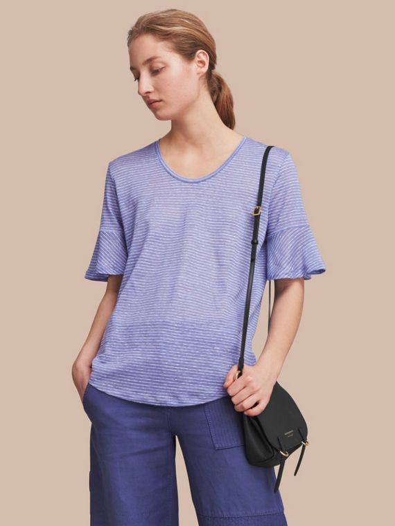 Bell-sleeve Check Detail Striped Linen T-shirt Pale Blue/white