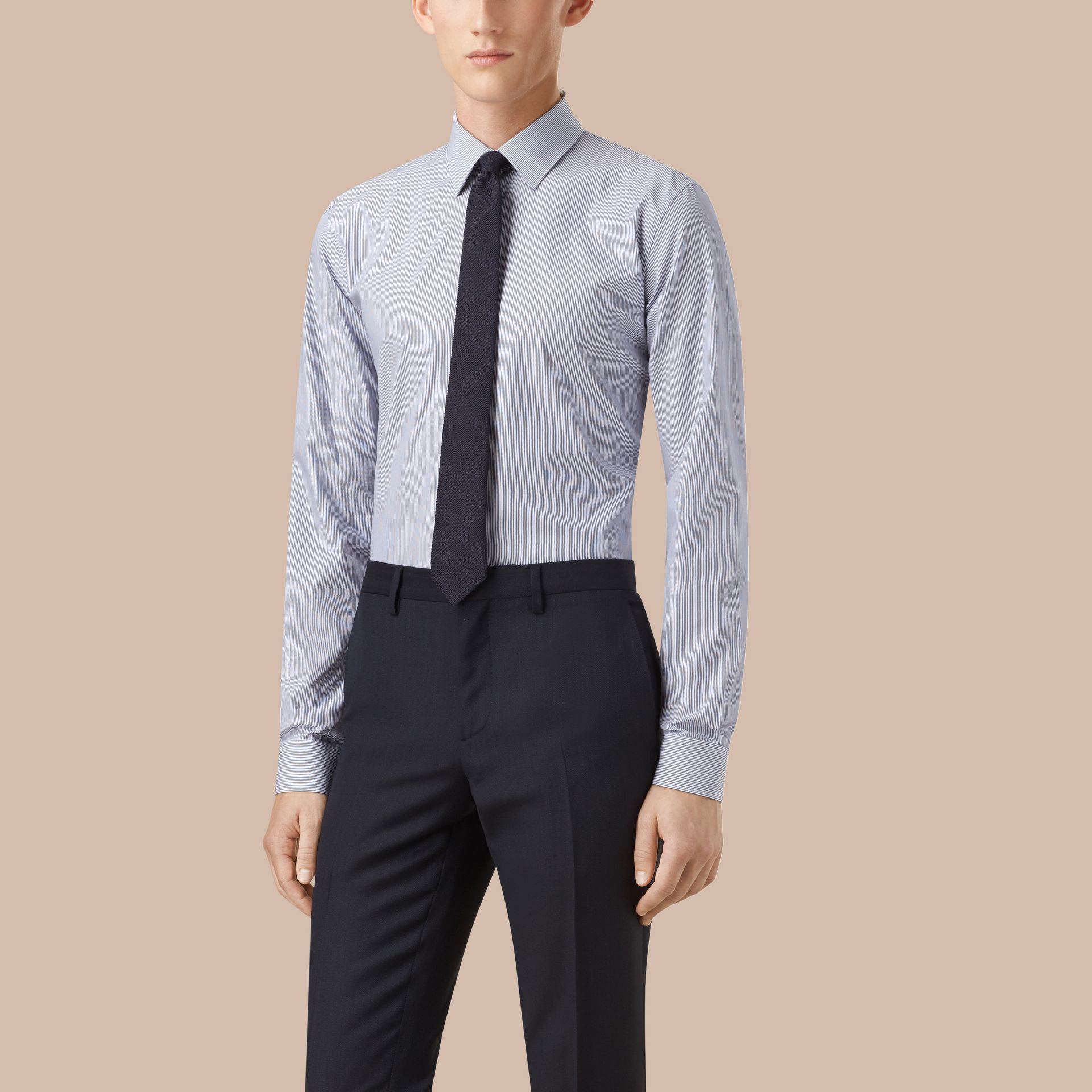 Slim Fit Striped Cotton Poplin Shirt in Dark Empire Blue - Men | Burberry - gallery image 1