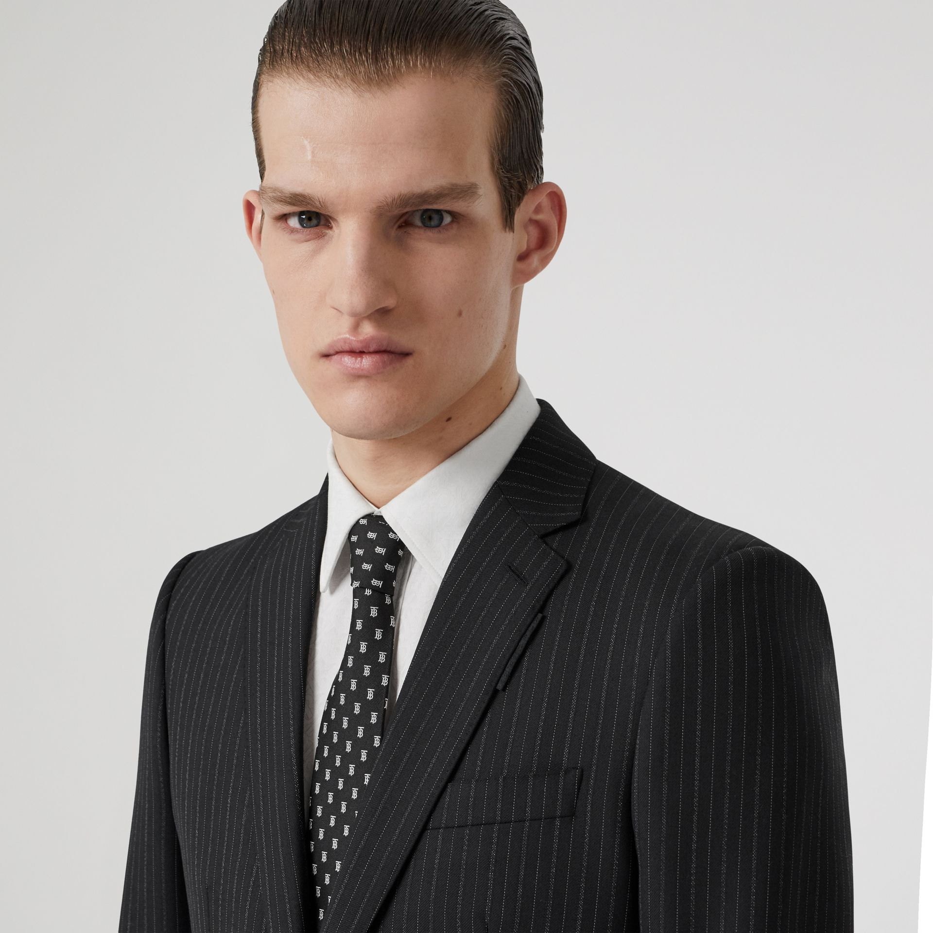 Classic Cut Monogram Motif Silk Jacquard Tie in Black - Men | Burberry - gallery image 2