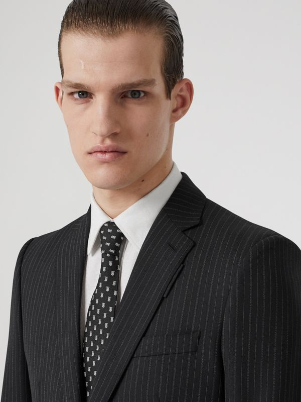 Classic Cut Monogram Motif Silk Jacquard Tie in Black - Men | Burberry United Kingdom - cell image 2
