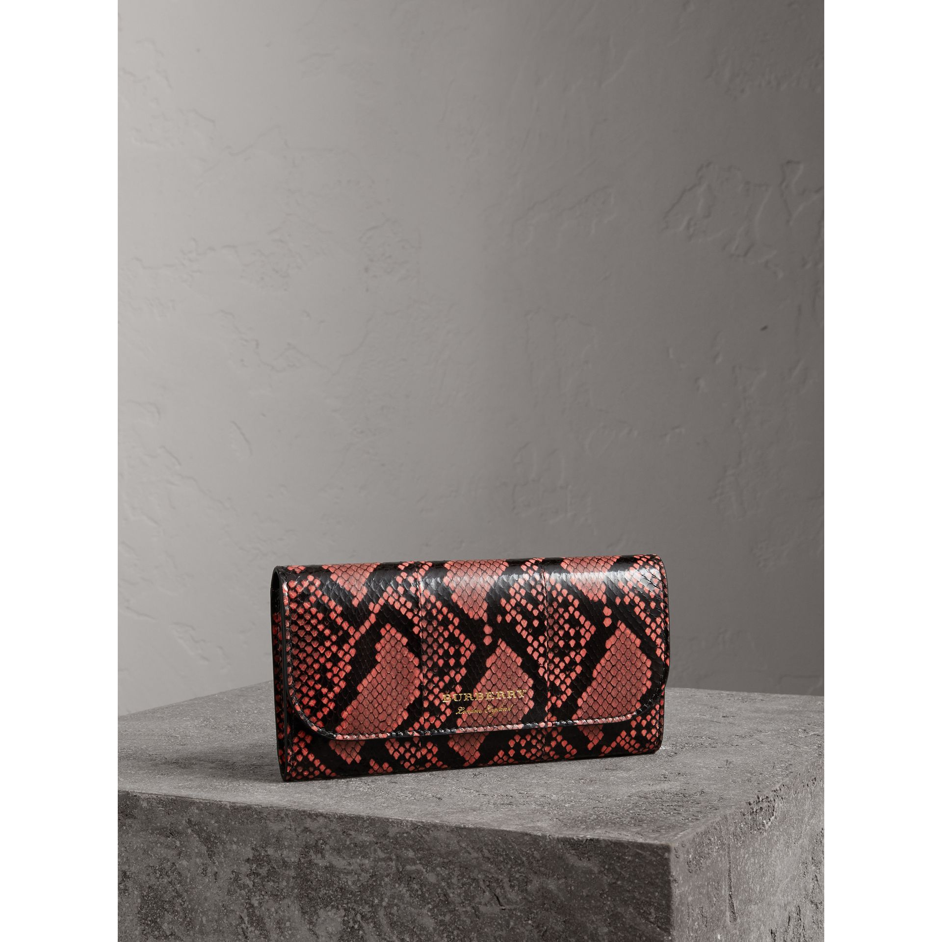 Python and Leather Continental Wallet in Peony - Women   Burberry United States - gallery image 0