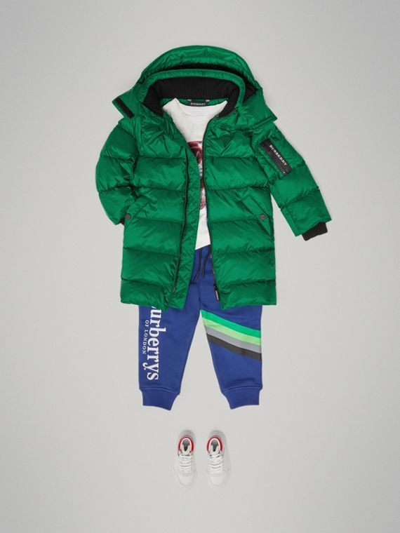 Detachable Hood Down-filled Puffer Coat in Dark Pigment Green