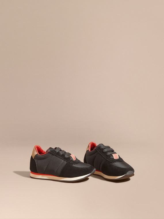 House Check Trim Suede and Technical Nylon Trainers in Black