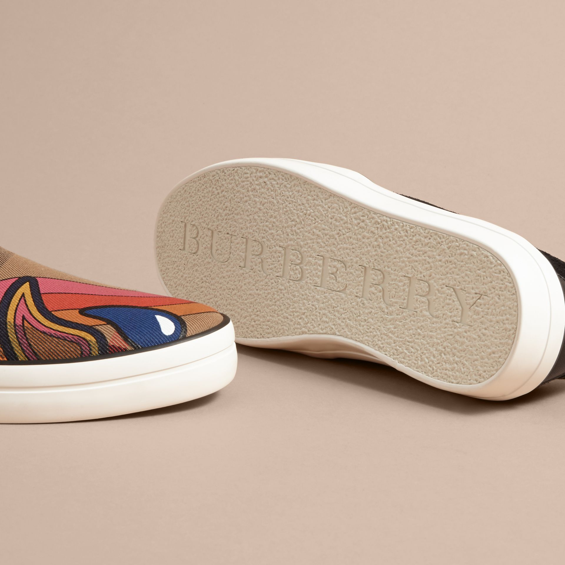 Rainbow Print House Check Cotton and Suede Slip-on Trainers - gallery image 5