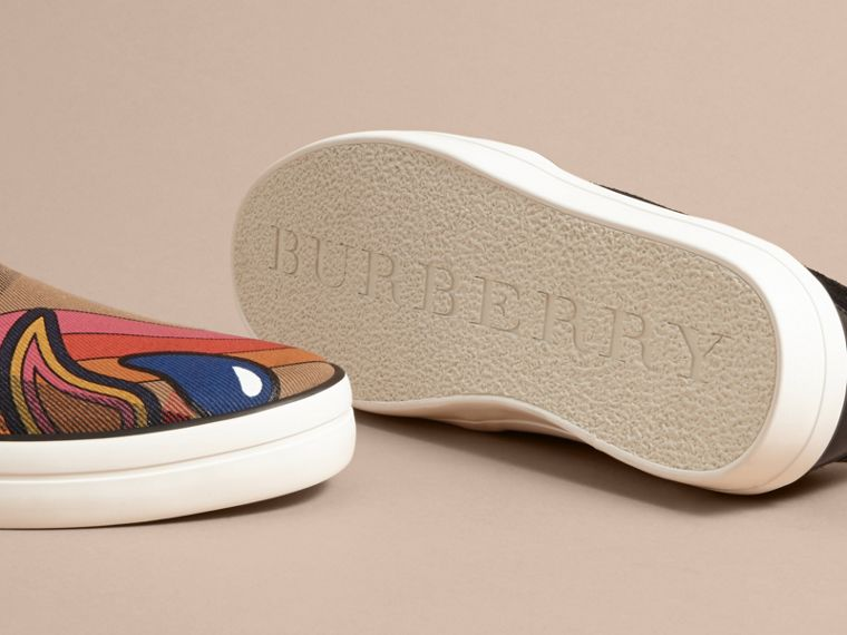 Rainbow Print House Check Cotton and Suede Slip-on Trainers - cell image 4