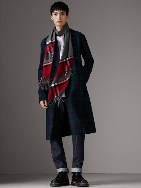 Tartan Panel Detail Cashmere Scarf in Mid Grey | Burberry - cell image 3
