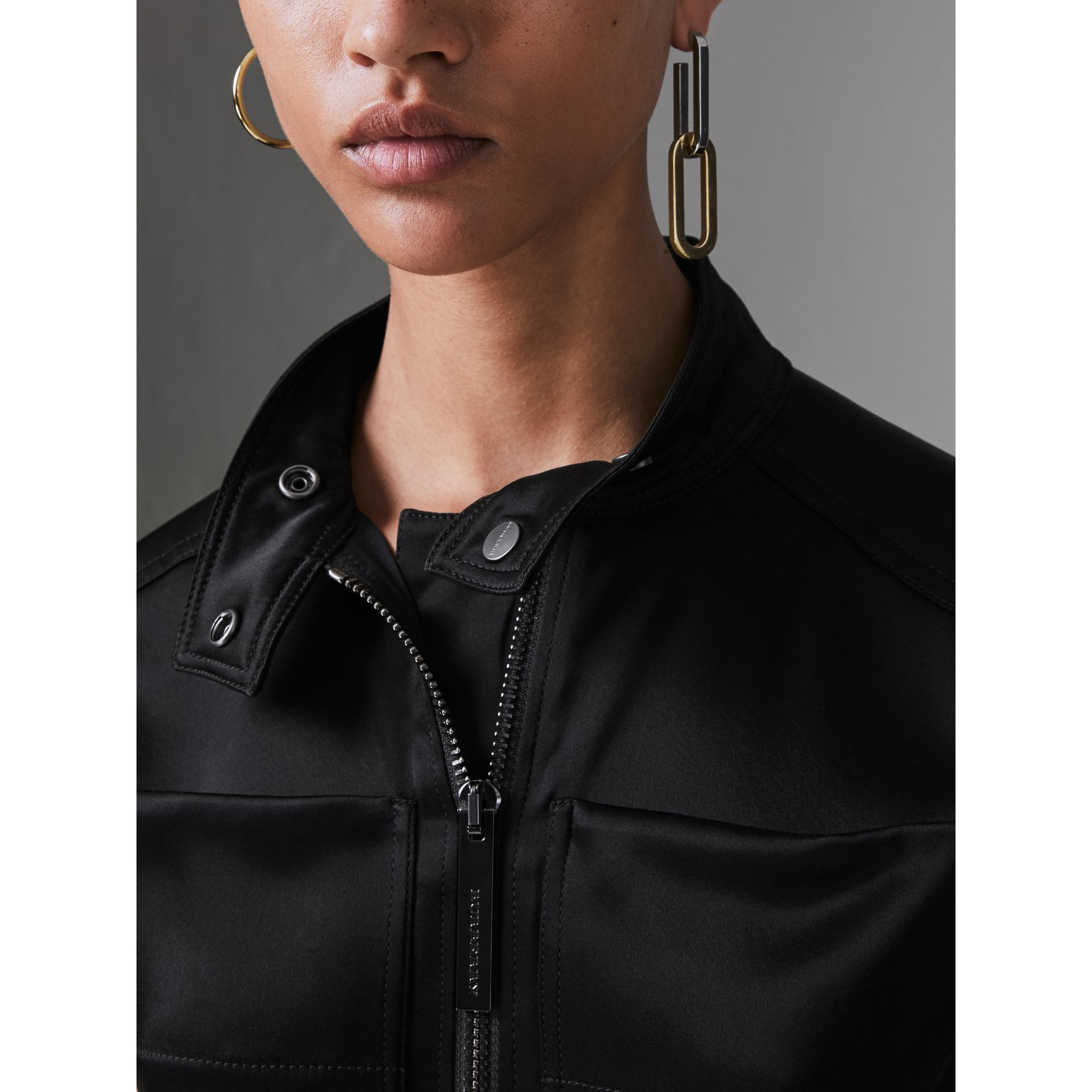 Sleeveless Satin Zip-front Jumpsuit in Black - Women | Burberry - gallery image 1