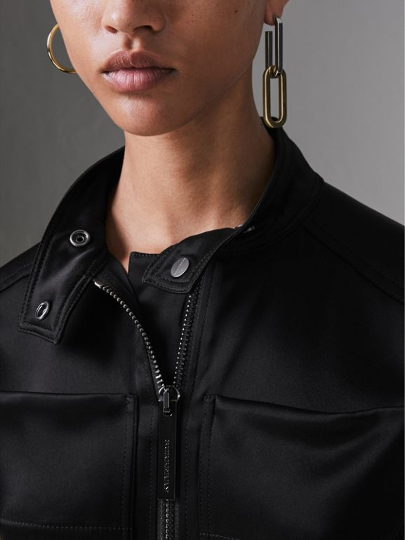 Sleeveless Satin Zip-front Jumpsuit in Black - Women | Burberry United States - cell image 1