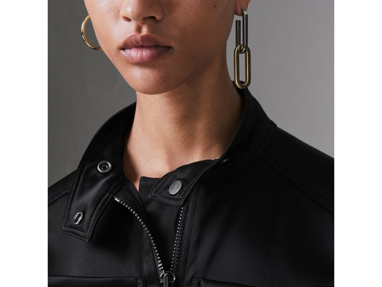 Sleeveless Satin Zip-front Jumpsuit in Black - Women | Burberry - cell image 1
