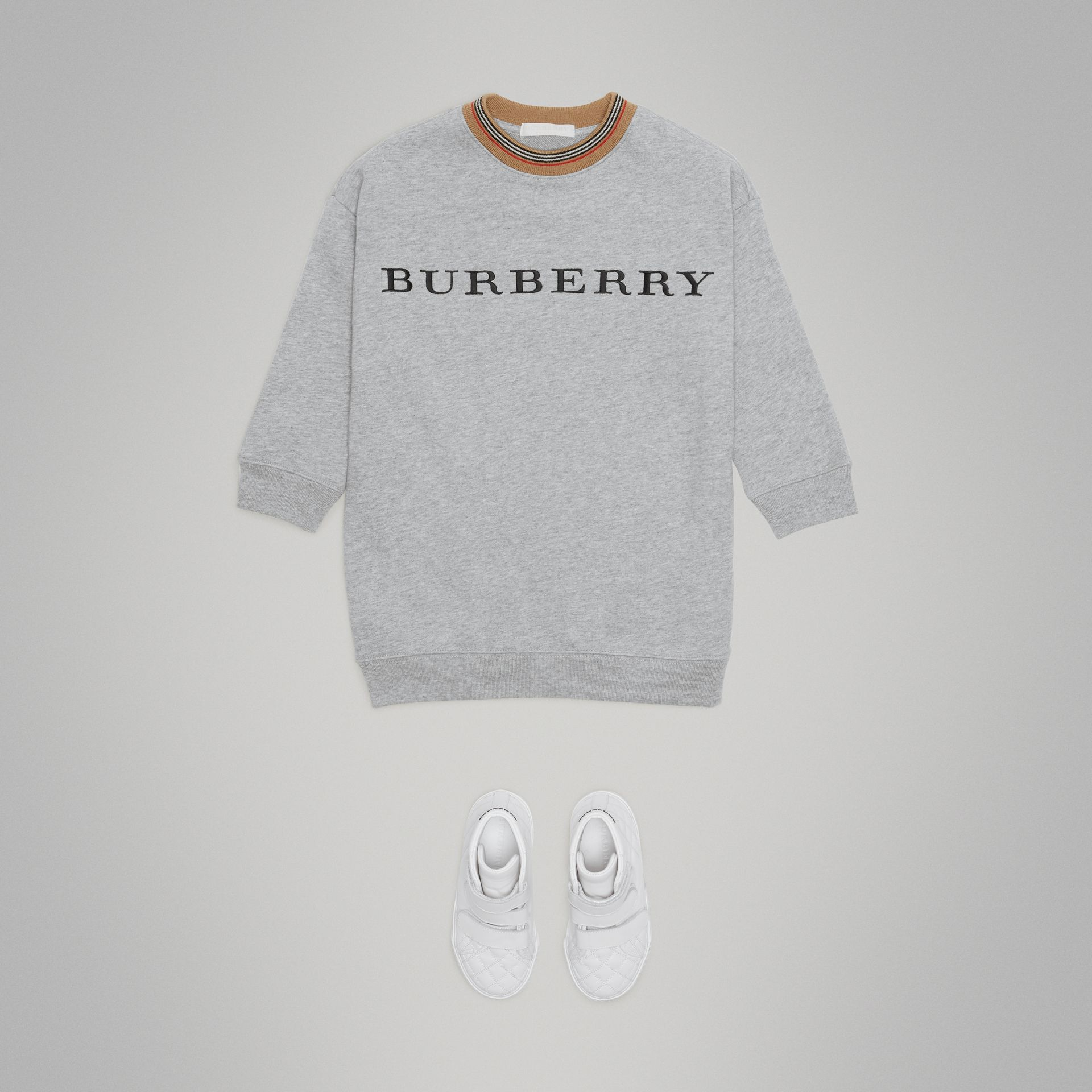 Embroidered Logo Cotton Dress in Grey Melange | Burberry Hong Kong - gallery image 2