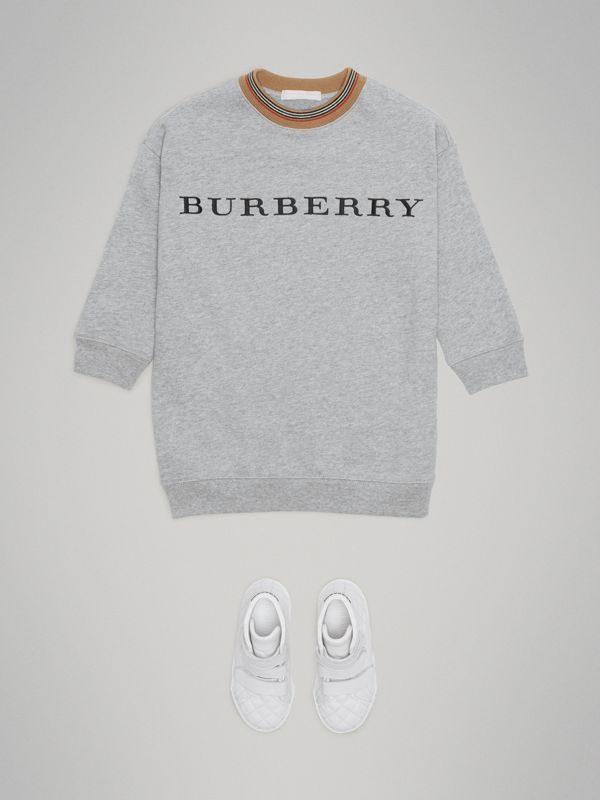 Embroidered Logo Cotton Dress in Grey Melange | Burberry Hong Kong - cell image 2