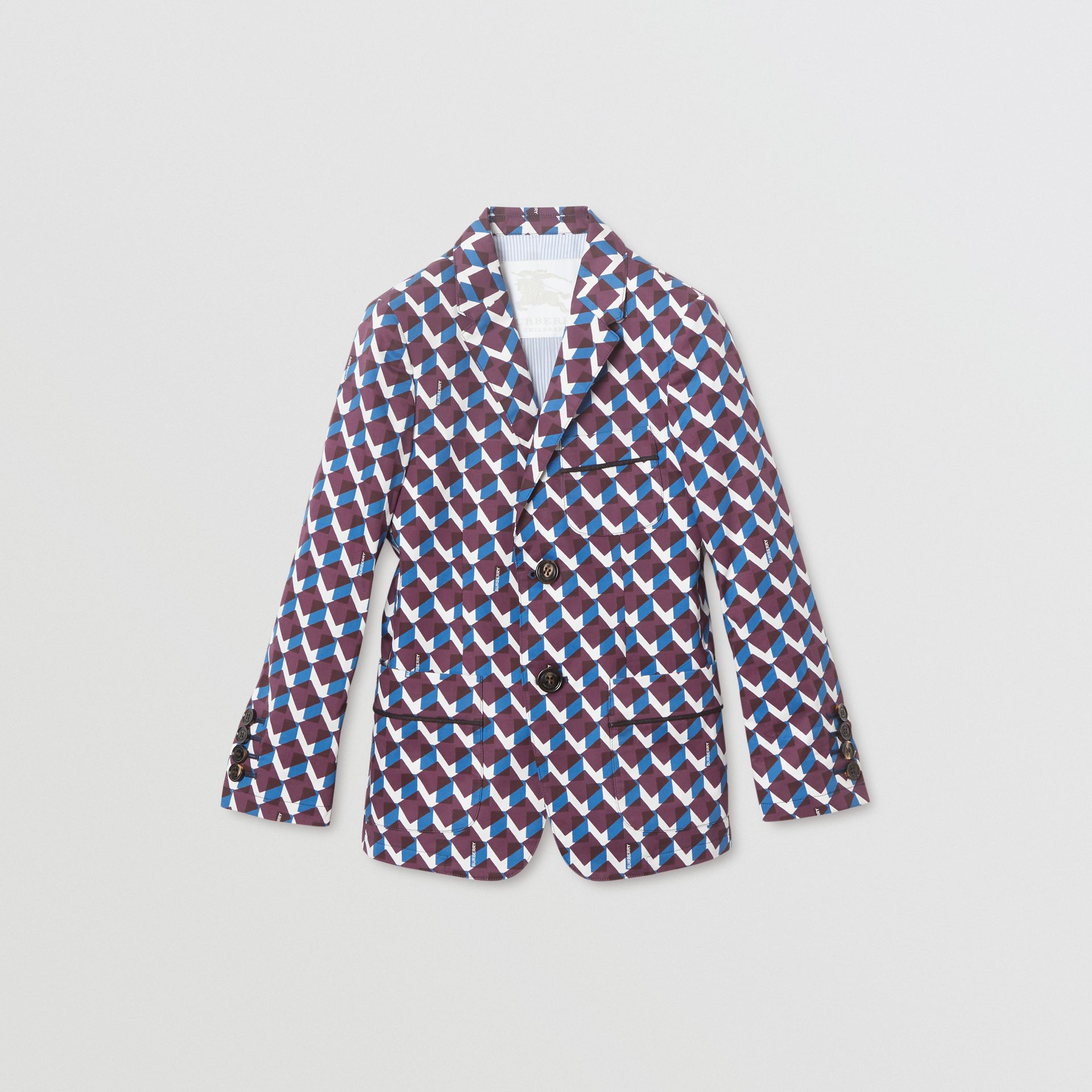 Geometric Print Cotton Blazer in Mineral Blue | Burberry United Kingdom - gallery image 0