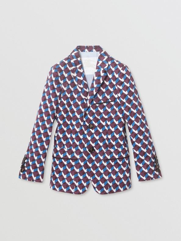 幾何印花棉質休閒西裝外套 (礦藍色)