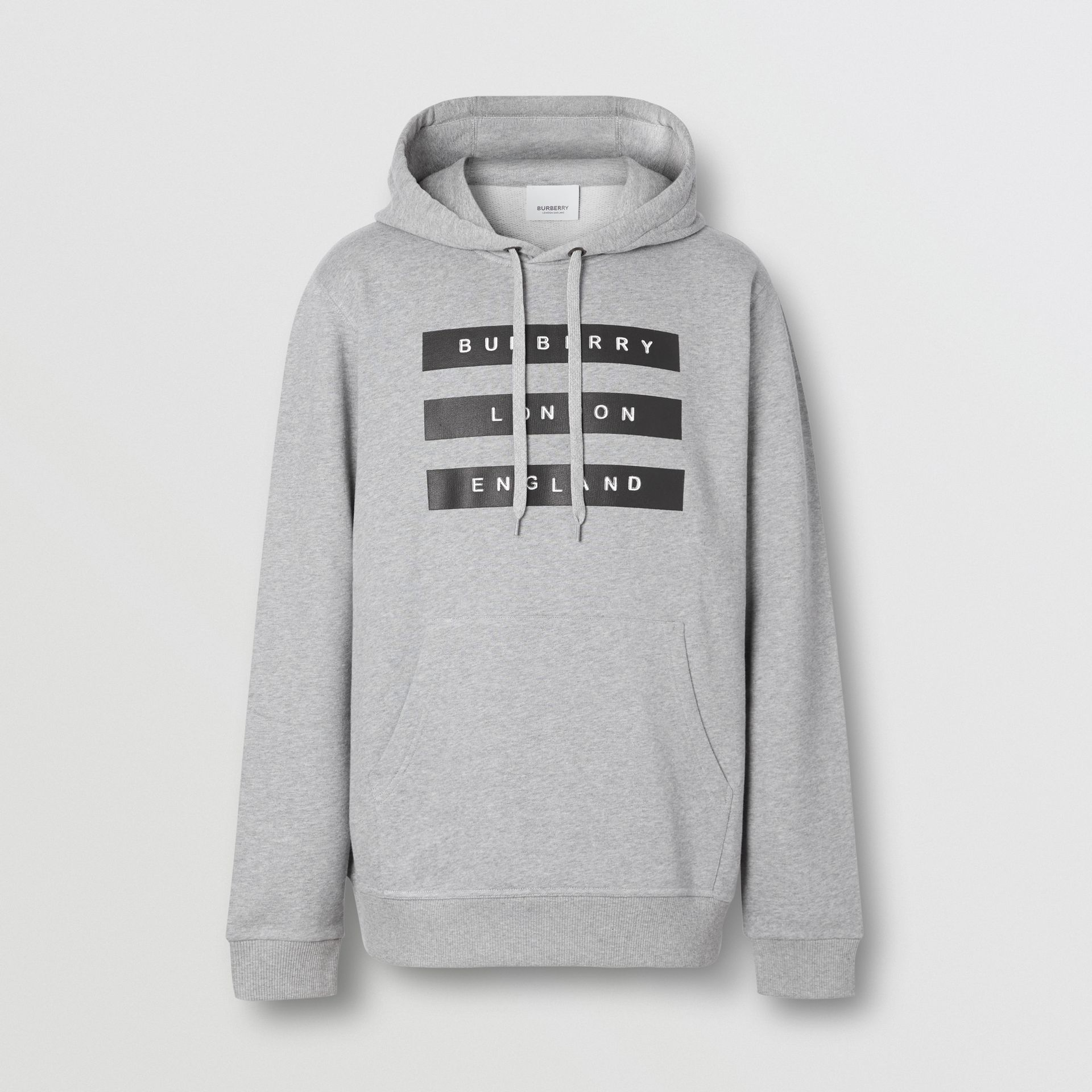 Tape Print Cotton Hoodie in Pale Grey Melange - Men | Burberry United Kingdom - gallery image 3