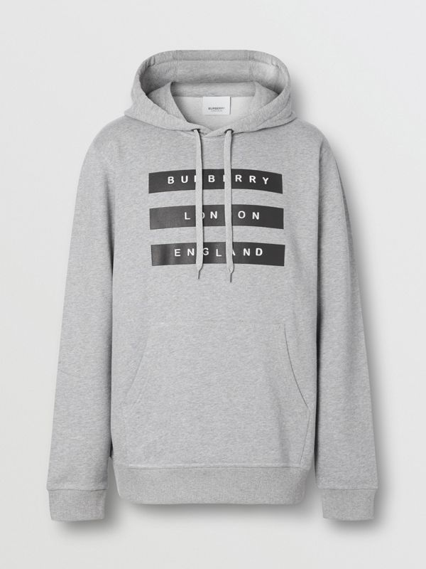 Tape Print Cotton Hoodie in Pale Grey Melange - Men | Burberry United Kingdom - cell image 3