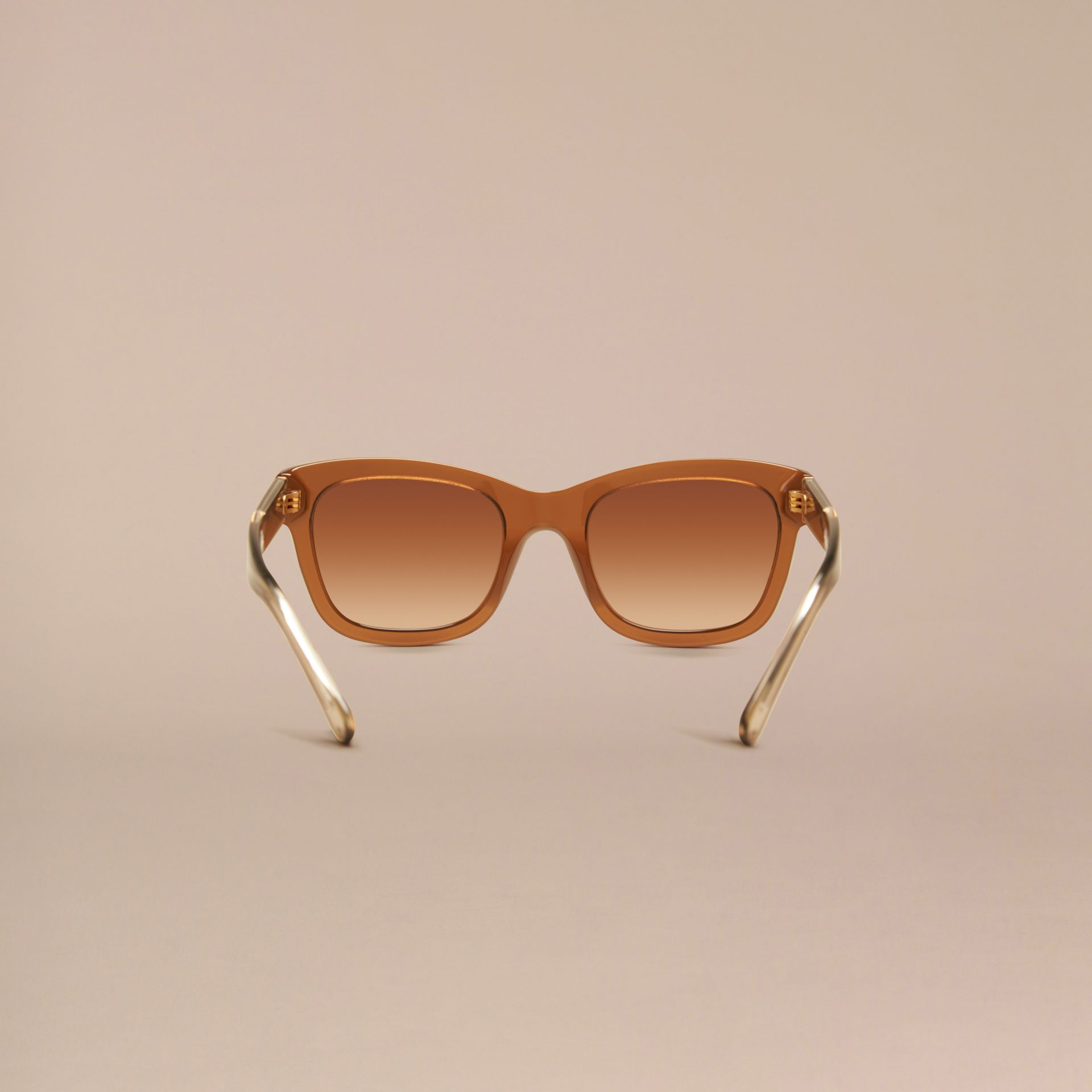 Taupe brown Check Detail Cat-eye Frame Sunglasses Taupe Brown - gallery image 4