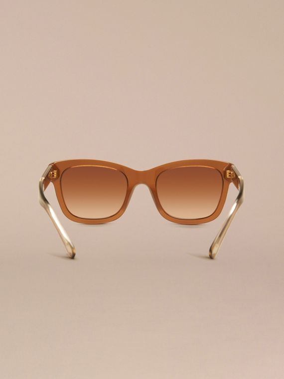 Taupe brown Check Detail Cat-eye Frame Sunglasses Taupe Brown - cell image 3