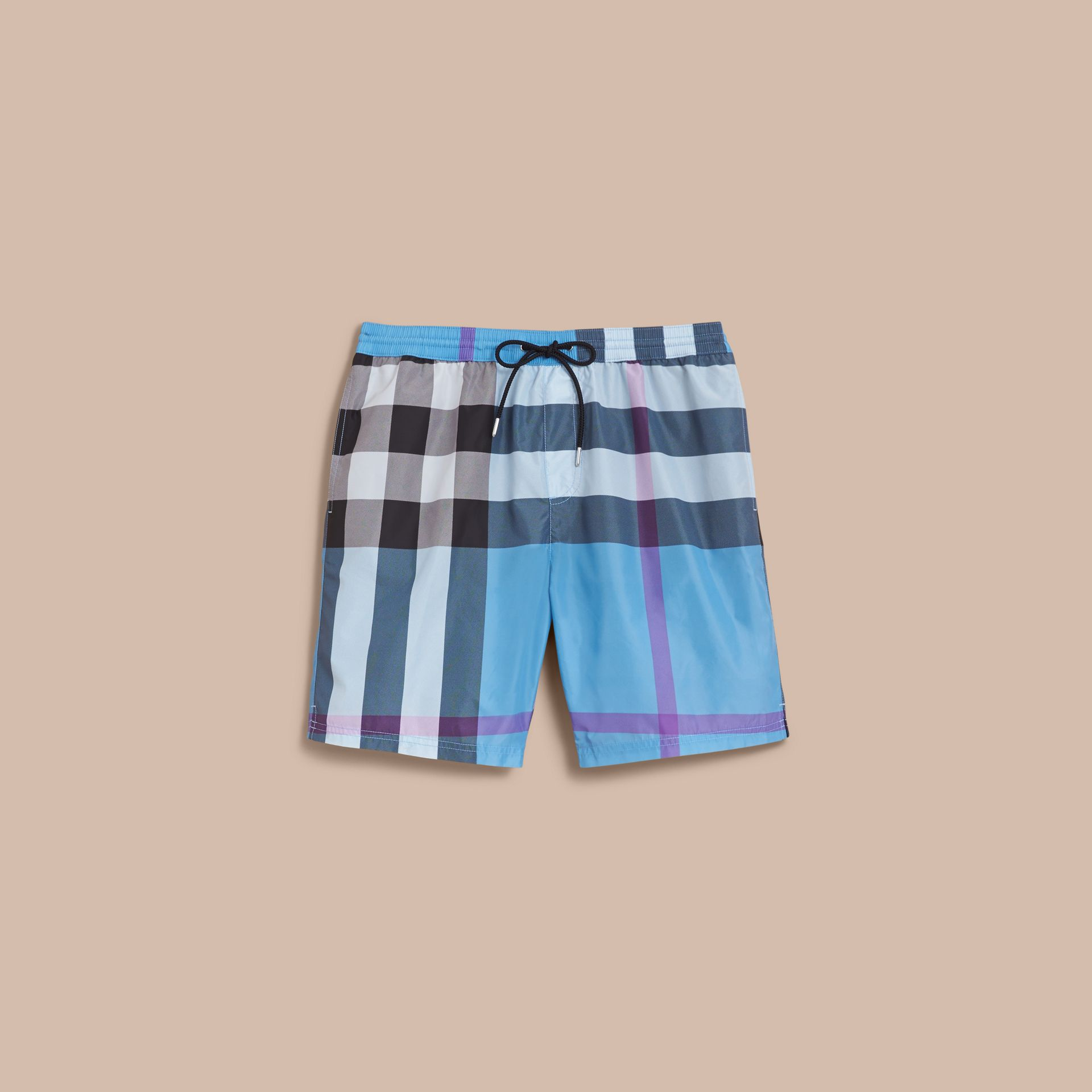 Check Swim Shorts in Cyan Blue - Men | Burberry - gallery image 1